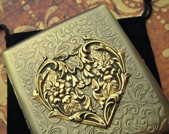 Brass Heart Cigarette Case Valentine's Gift Big Large Vintage Inspired Style Gothic Victorian Steampunk Accessories Antiqued Gold Brass
