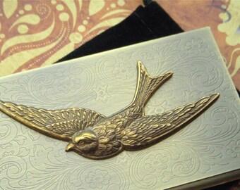 Brass Bird Business Card Case Antiqued Brass Sparrow Gothic Victorian Card Case Vintage Inspired Flying Bird Case