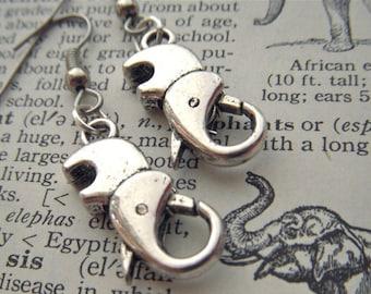 Steampunk Elephant Earrings Pierced Ear Hook Dangle Rustic Antiqued Silver Tone Kitsch Fashion Jewelry Cosmic Firefly Las Vegas