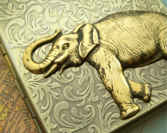 Elephant Cigarette Case Gothic Victorian Steampunk Vintage Style Antiqued Gold Brass Finish Large Metal Card Holder Trunk Up For Good Luck