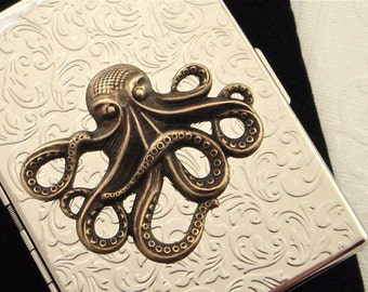 Octopus Cigarette Case Chrome Silver Case Large Brass Octopus Mixed Metals Large Card Holder Slim Gothic Victorian Nautical Steampunk