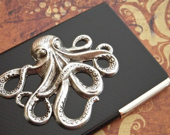Octopus Business Card Case Silver & Black Carbon Fiber Style Industrial Steampunk Card Case Nautical Sealife Men's Gift Women's Gifts