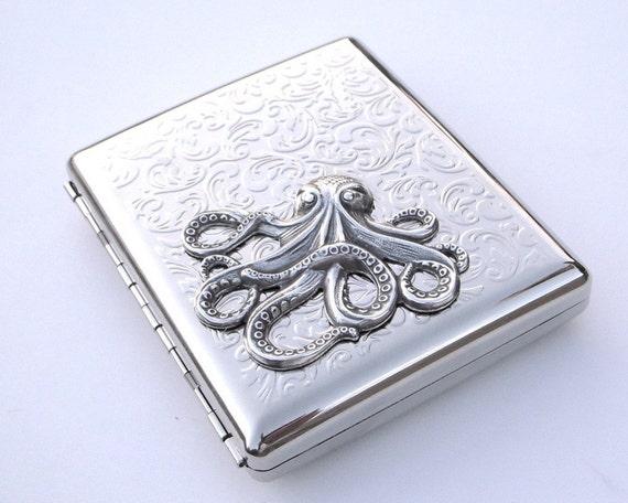 LARGE OCTOPUS SILVER-PLATED METAL CIGARETTE CASE \/ WALLET - Art Nouveau Design Kraken - DOUBLE SIZE INSIDE