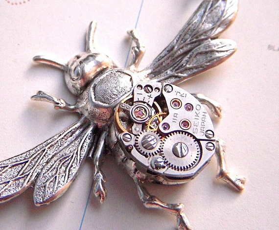 Steampunk Necklace Silver Bee Watch Movement Body - Gothic Victorian Entomology
