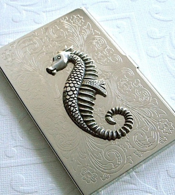 Business Card Holder SEAHORSE - Elegant Silver Plated Metal - Vintage Art Deco Style - Original Design from Cosmic Firefly