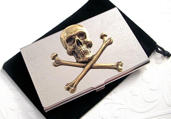 Steampunk business card holder skull crossbones pirate case for Steampunk business card holder