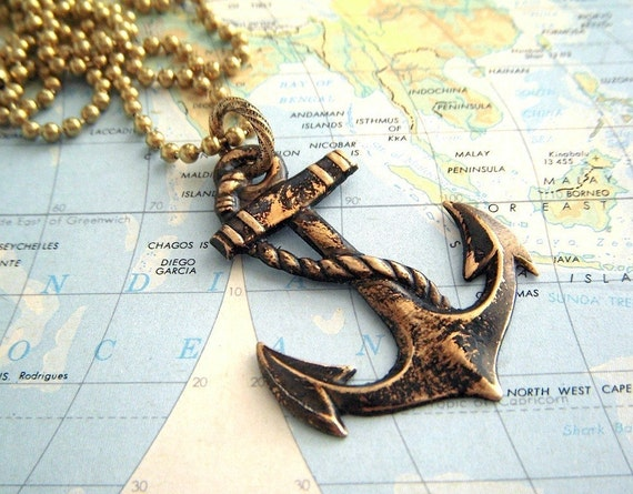 Big Anchor Pendant Necklace - Vintage Nautical Design Antiqued Brass Sailing Ship Anchor and Long Chain