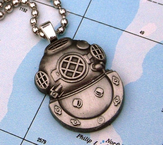 Steampunk Necklace Classic Nautical Diving Bell Helmet Pendant Silver Plated Chain Included Handcrafted By Cosmic Firefly