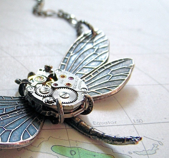 Steampunk Necklace Silver Plated Victorian Dragonfly Necklace Tiny Vintage Watch Movement Art Nouveau Antiqued Rustic Finish