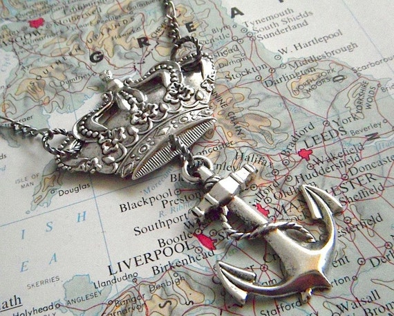 Crown & Anchor Necklace Victorian Steampunk Vintage Inspired Silver Plated Fashion Assemblage Jewelry Royal Nautical British Pub