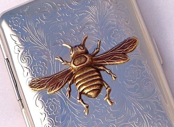 Bee Cigarette Case Business Card Case Credit Card Holder Metal Wallet Silver Plated With Raised Brass Honey Bee Florentine Scroll Pattern