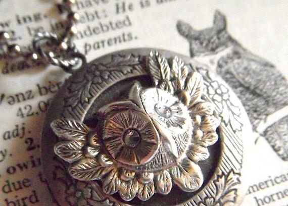 Owl Locket Necklace Vintage Inspired Round Antiqued Silver With Swarovski Crystal Eyes Popular Rustic Primitive Gothic Victorian