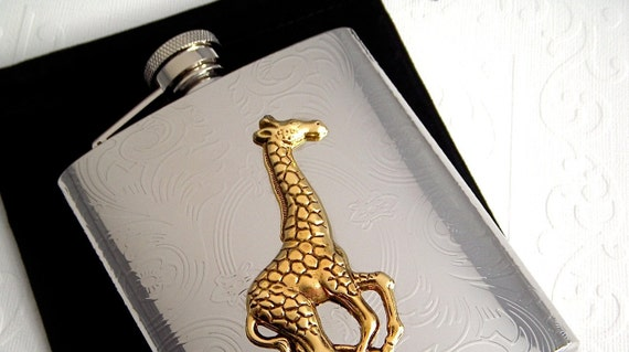 Giraffe Flask Large Size Holds 8 oz Vintage Inspired Style Victorian Steampunk Mixed Metals Silver & Gold