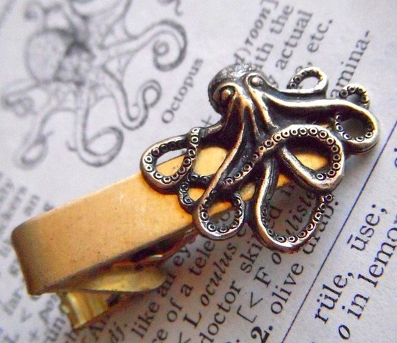 Octopus Tie Clip Bar Clasp Captain of the Nautilus Formal - BRASS Metal Nautical Steampunk - The Original From Cosmic Firefly Las Vegas