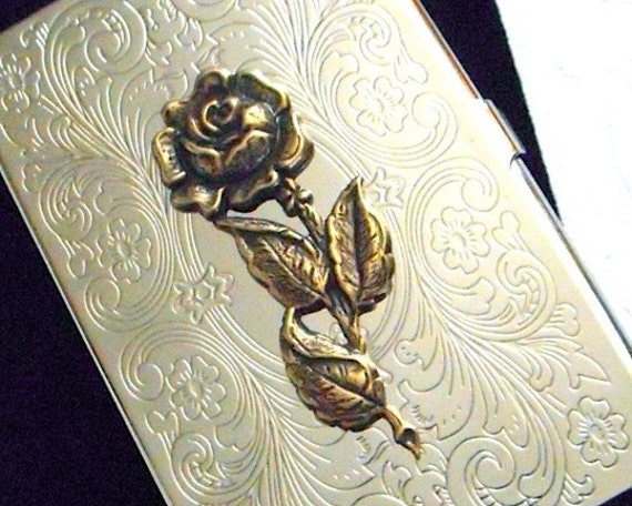Gothic Victorian Rose Flower Business Card Case Gothic Victorian Card Case Antiqued Brass Rose Card Case Slim Card Case Silver Card Case