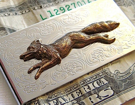Fox Money Clip Nickel Silver Plated & Brass Mixed Metals Vintage Style Victorian Steampunk Men's Accessories