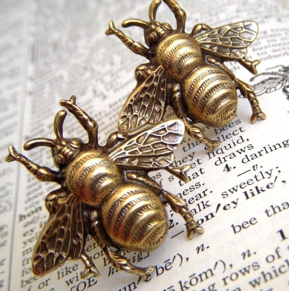 Anvil 83574 Ebony Antique Brass Beehive Door Knobs: Big Bee Cufflinks Brass Bees Vintage Inspired BIG BOLD