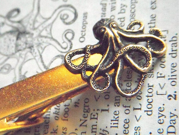 Octopus Tie Clip Gold & Brass Mixed Metals Vintage Inspired Men's Tie Clip Handcrafted Tie Bar From Cosmic Firefly