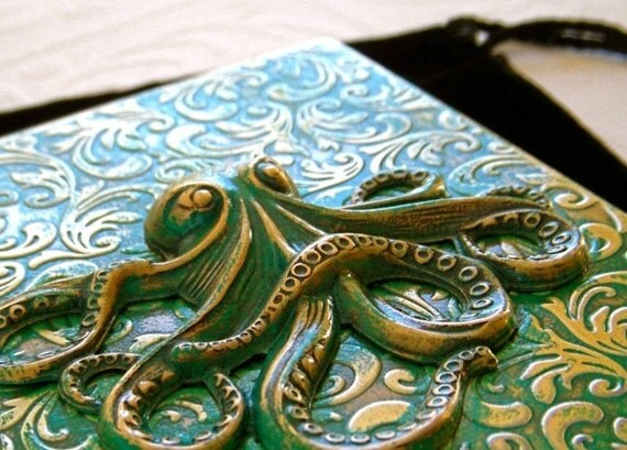 Steampunk Cigarette Case Green Octopus Verdigris Green Style Primitive Finish Antiqued Brass Metal Case
