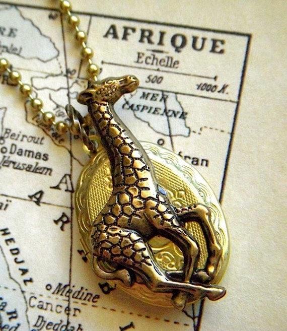 Giraffe Locket Necklace Vintage Brass Oval Gothic Victorian Steampunk Style Antiqued Rustic Finish Safari Animals Design