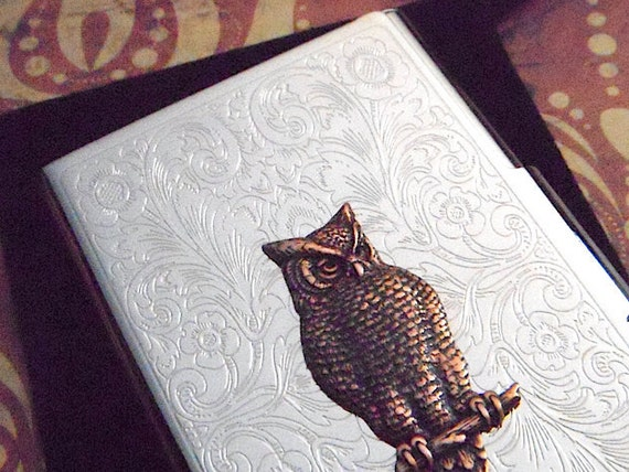 Victorian Owl Business Card Case Silver Card Holder Copper Owl Mixed Metals Vintage Style Steampunk Card Case Woman's Card Case Woodland Owl