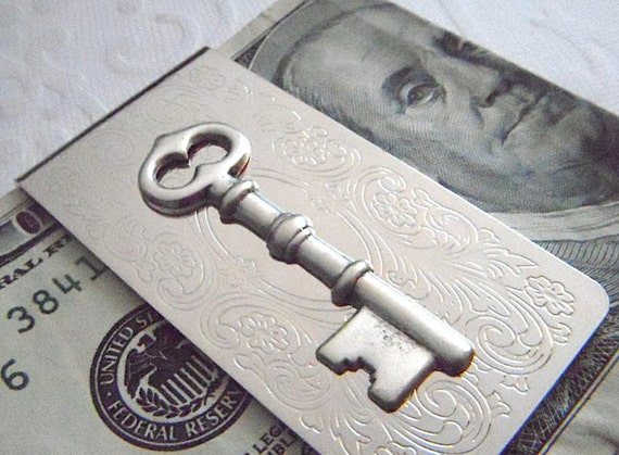 Steampunk Money Clip Skeleton Key Men's Accessories & Gifts Silver Plated Popular Vintage Inspired Gothic Victorian Steampunk Style