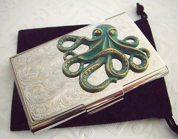 Green Octopus Business Card Case Gothic Victorian Nautical Steampunk Vintage Inspired Style Slim Silver Plated Case