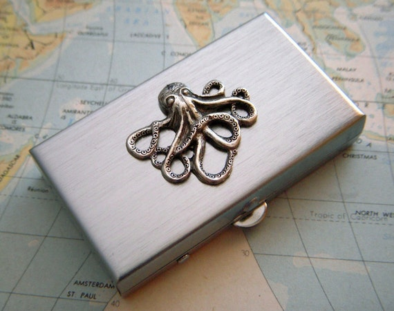 Silver Octopus Pill Box Tiny Pill Box Silver Pill Case Steampunk Pill Box New Vintage Inspired Small Pillbox Sealife Gifts Nautical Gifts