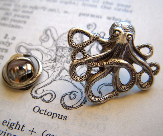 Tiny Octopus Tie Tack Lapel Pin Silver Plated Gothic Victorian Nautical Steampunk From Cosmic Firefly