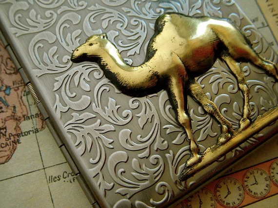 Camel Cigarette Case Silver & Brass Mixed Metals Vintage Inspired Style Slim Metal Cigarette Case From Cosmic Firefly