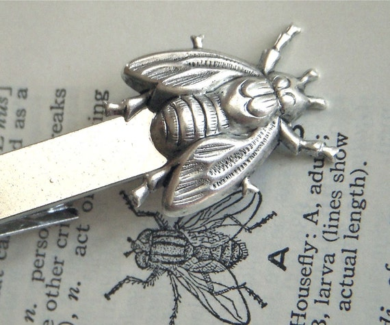 Silver Tie Clip Fly Vintage Style Gothic Victorian Steampunk Men's Accessories & Gifts
