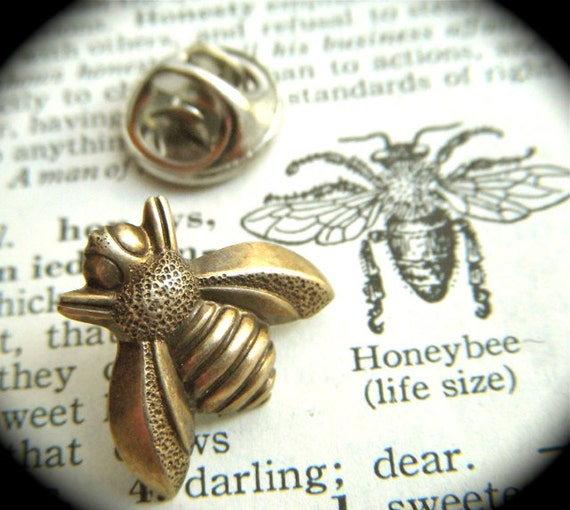 Tie Tack Pin Antiqued Brass Bee Gothic Victorian Art Deco Vintage Style Honey Bee Men's Accessories Antiqued Rustic Steampunk