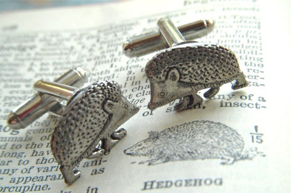 Hedgehog Cufflinks Tiny Size Antiqued Silver Plated Vintage Inspired Style Handcrafted By Cosmic Firefly