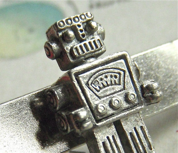 Robot Tie Clip Silver Plated Tie Bar Men's Accessories Men's Gifts Handcrafted By Cosmic Firefly Las Vegas Father's Day Gifts For Dad