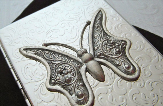 Cigarette Case Butterfly Moth Art Nouveau Insect Steampunk Big Card Holder Shiny Chrome Silver Plated Metal Wallet Vintage Inspired