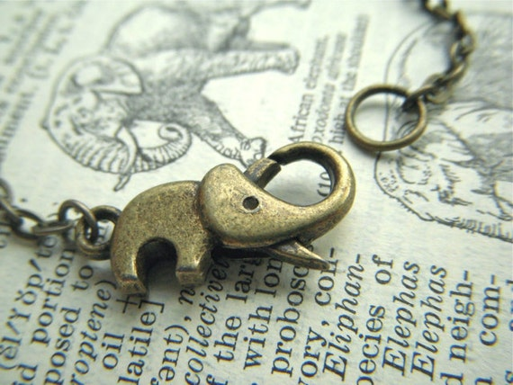 Baby Elephant Necklace Clasp Small Antiqued Brass Bronze Rustic Finish Trunk Up For Good Luck Handcrafted Assemblage Fashion Jewelry