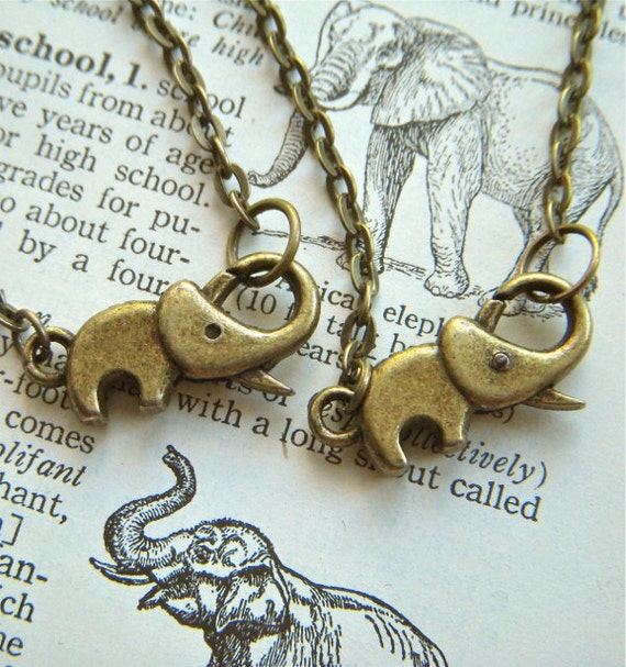 Tiny Elephant Necklace & Elephant Bracelet Set Of 2 Antiqued Brass Bronze Rustic Finish Fashion Jewelry Clasp Trunk Up For Good Luck