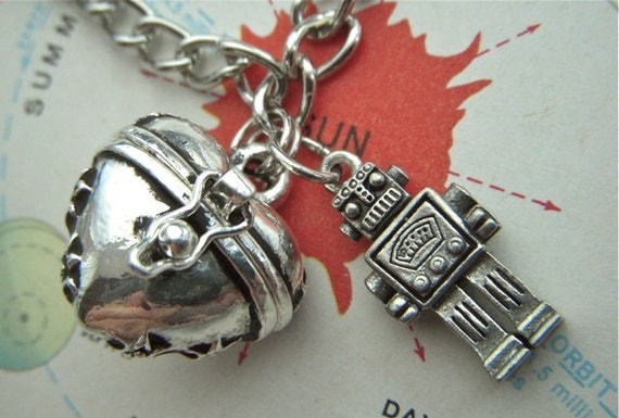 Steampunk Robot Charm Bracelet Heart Locket Antiqued Silver Plated Rustic Finish Fashion Jewelry By Cosmic Firefly