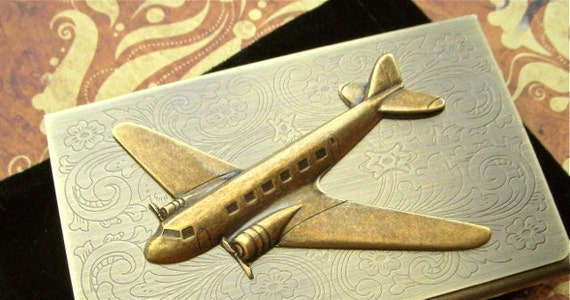Steampunk Airplane Business Card Case Antiqued Brass Card Case Case Brass Airplane Prop Plane DC9 Airplane Case Vintage Style Propeller Wing