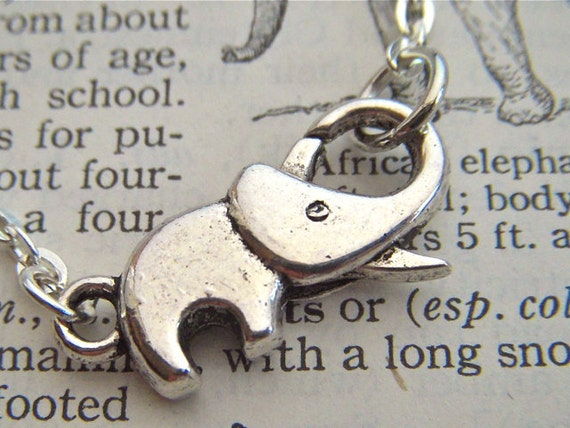 Tiny Elephant Necklace Tiny Silver Elephant Necklace Costume Fashion Jewelry Miniature Elephant Clasp Trunk Up For Good Luck Costume Jewelry