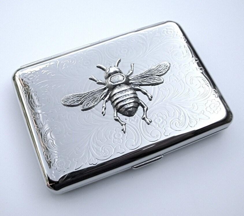 Cigarette Case Silver Bee Metal Wallet Credit Card Holder