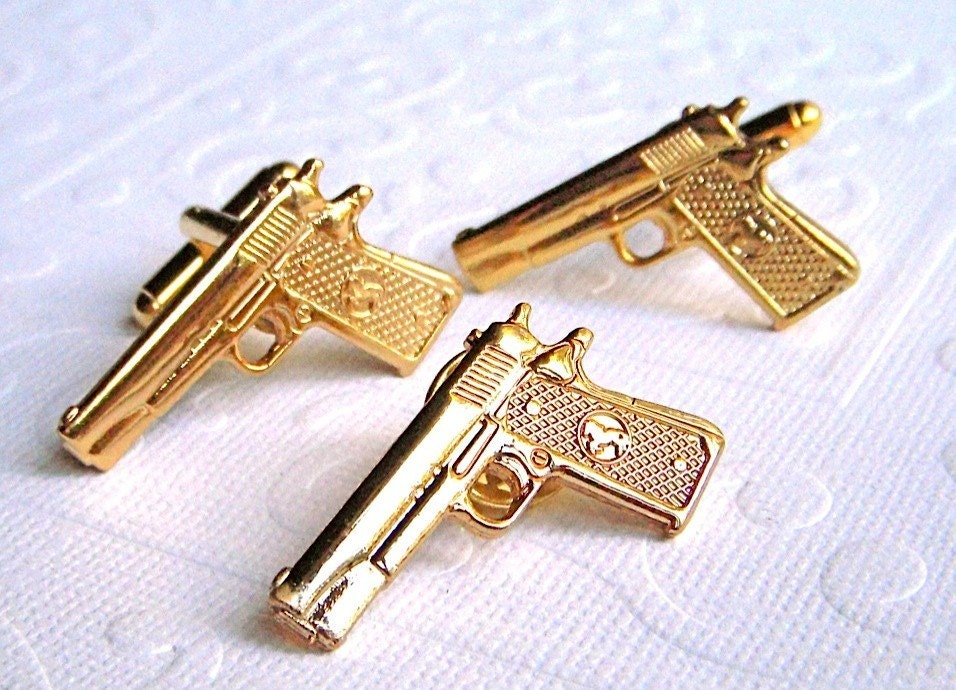 gold gun cufflinks and tie tack set of 3 colt 45s be