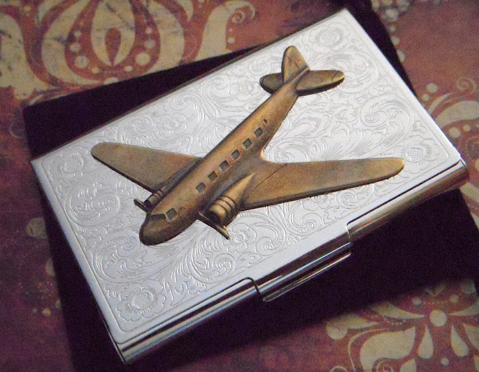Business card holder brass airplane case by cosmicfirefly for Airplane business card holder