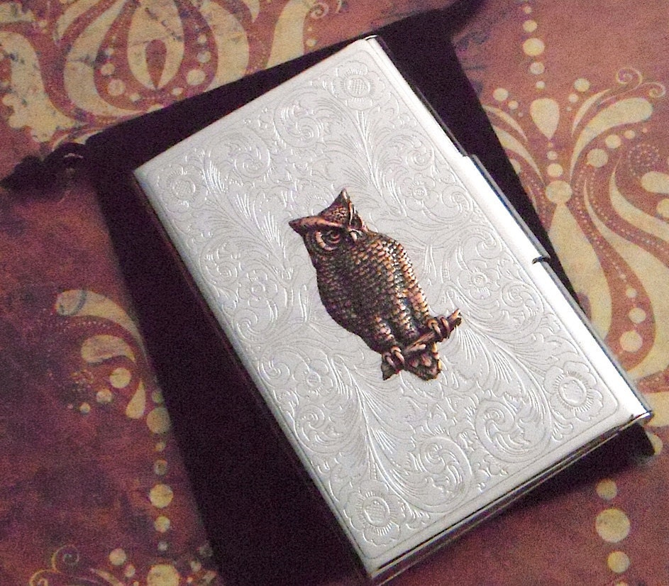 Victorian Owl Business Card Case Silver Card Holder Copper Owl Mixed ...