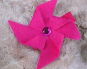 Pink Felt Pinwheel Hair Clippie