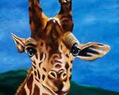 Giraffe Painting - Children's Room Giraffe Art Print Titled: What's Up