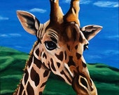 Giraffe Painting - Children's Room Art Print Titled: Where Are You Going Giraffe