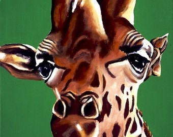 Baby Boy Nursery Art, Giraffe Art, Limited Edition Giclee, Zoo Animal Artwork. Boy's Playroom, Safari Animal, Colorful Giraffe Nursery Art