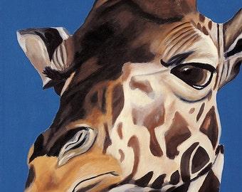 Giraffe Limited Edition Fine Art Giclee, Giraffe Art, 18 x 24 Canvas Art, Apartment Home Decor, Wall Art