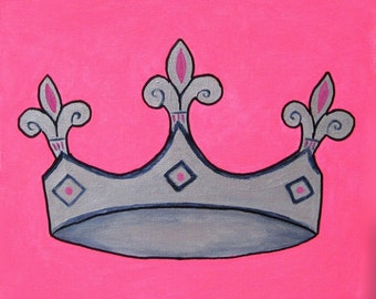 Princess Room, Original Painting, Canvas Wall Art. Silver Pink Crown, Girl's Nursery. Baby Shower Gift. Fairy Tale Art, Fleur De Lis